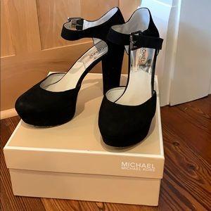 Michael Kors Sierra Platform Suede Black Heels